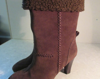 Brand New Boxed Womens Vintage Brown Suede Boots By 'Chiffon' - UK Size 4.5