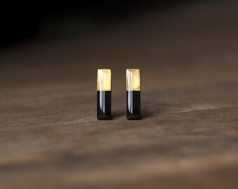 Rectangle stud earrings, black and gold, smalls studs, small earrings, minimalist, geometric