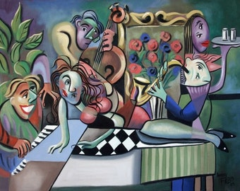 Play It Again Sam Piano Singing Music Drinking Fun Cubism Abstract Anthony Falbo