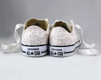 Blush Bridal Converses with Ivory Sequin Lace Converse -- Wedding Tennis shoes  - Wedding Converse