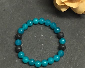 Malaysian Jade Diffuser Bracelet, Aromatherapy, Gifts for Her, Gemstone Jewelry, Stretch Bracelet, Essential Oils