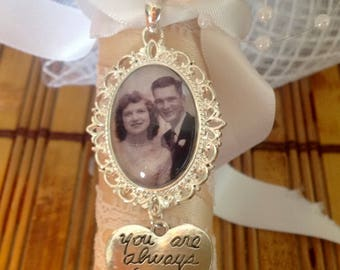 Wedding bouquet remembrance charm with  photo.