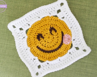 Emoji Crochet Granny Square Pattern pdf instant digital download