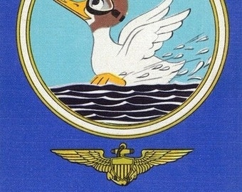 Pensacola, Florida - Aviating Duck Lands in Water; Home of US Naval Air Training Center (Art Prints available in multiple sizes)