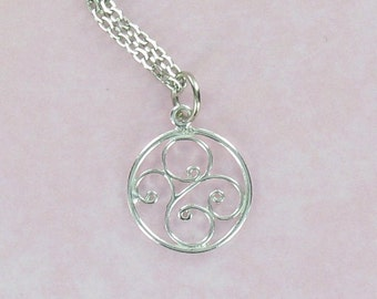 ROUND SCROLL  Pendant - Pewter Charm on a FREE Plated Chain