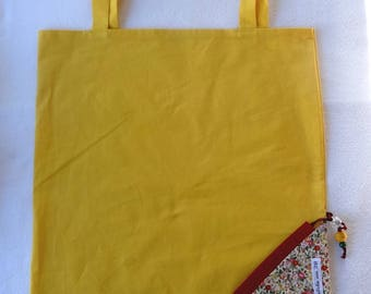 Tote Bag / eco-friendly tote bag / pouch - yellow foldable bag and flowers