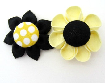 Set of 2 Flower Magnets in Yellow & Black Sunflower, Fridge Magnets, Magnetic, Fabric Flower, Kanzashi Flower, Bulletin Board Magnet
