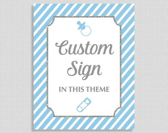 Light Blue Custom Made Shower Table Sign, Light Blue Stripe Baby Shower Sign, Party Decorations, Baby Boy, DIY Printable