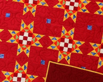 Very crisp colors - 9 patch star FINISHED QUILT - Joyful fun colors