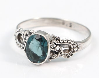 London blue topaz 92.5 sterling silver ring size 8.5 us