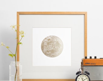 Lunar wall decor, Letterpress full moon, gold moon print, lunar, art print, wall decor, full moon shiny gold lunar very limited edition
