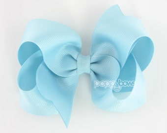 Girls Hair Bows, Pale blue hair bow, 4 inch hair bows, big hair bows, boutique bows, large hair bows, girl hair bows, toddler clip hairbow