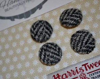 HARRIS TWEED BUTTONS 100% pure virgin wool with authenticity labels grey herringbone 2.5cm & 3cm Sizes