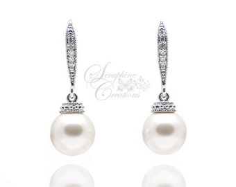 Pearl Wedding Earrings Wedding Jewelry Bridal Earrings Swarovski Pearls Cubic Zirconia Simple Classic Bridesmaid Gifts White Cream K041