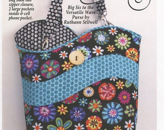 "Tidal Wave Bag sewing pattern - 15"" x 15"" tote bag with zipper closure"