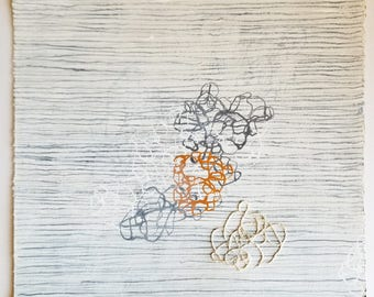 Winter White no. 5 / Tangled Lines in Gray Gold White with Hand Embroidery / Mixed Media Drawing
