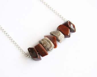 Arizona Petrified Wood Necklace Natural AZ Agatized Wood Fossilized Wood Jasper Black Brown Brick Red Large Chunky Nugget Chips Stone #17580