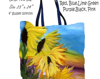 Sunflower field floral art double sided art printed beach bag from my artwork.