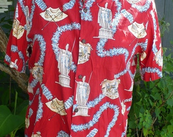 Vintage 70s Red HAWAIIAN KoleKole SHIRT size Large by Jeansvintagecloset on Etsy