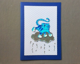 Handmade Fabric Cloud Surfing Cat Christmas Card