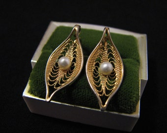 """Vintage 1969 Sarah Coventry """"Serene"""" Gold Tone and White Faux Pearl Filigree Leaf Clip Earrings"""