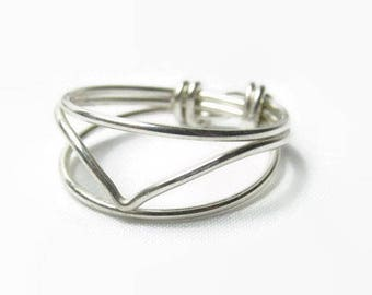 Sterling Silver Chevron Ring, Size 2 3 4 5 6 7 8 9 10 11 12 13 14, Sterling Silver Ring, Sterling Silver Geometric Ring, Ladies Ring