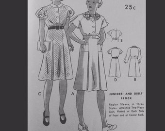 Vintage 40s Puff Flutter Sleeve Pleated Peter Pan Collar Day Dress Sewing Pattern 6327 B28