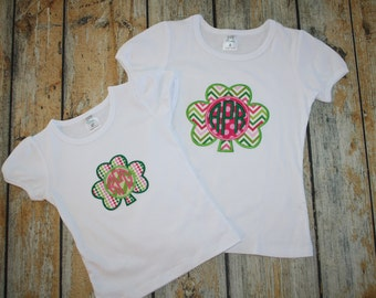 Shamrock Monogram tee,St. Pats tee,personalized St. Patrick's Day shirt, Monogram 4 leaf clover tee, St Pats Raglan,