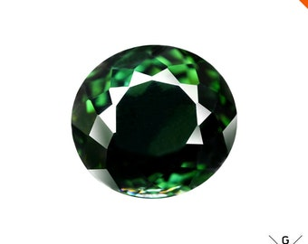 Tourmaline loose 2.2ct Natural Chrome Tourmaline Faceted Clean Gemstone Round Oval cut Green Tourmaline loose gemstone Emerald Facet Crystal