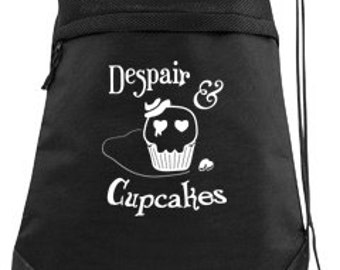 Gothic Backpack despair and cupcakes pastel goth bag kawaii backpack punk drawstring bag skater bag cute goth school bag