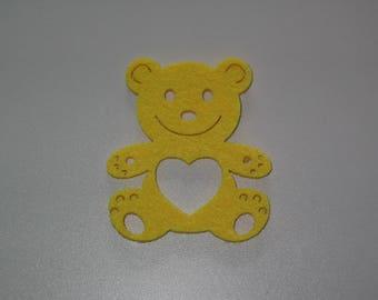 Yellow bear felt perforated for embellishment