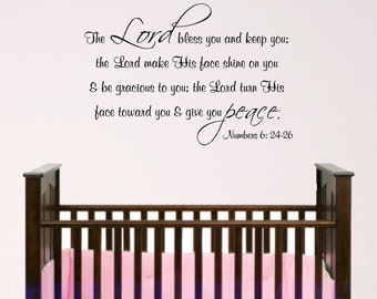 Nursery Bible Verse Wall Art, Lord Bless You. Baby room decal