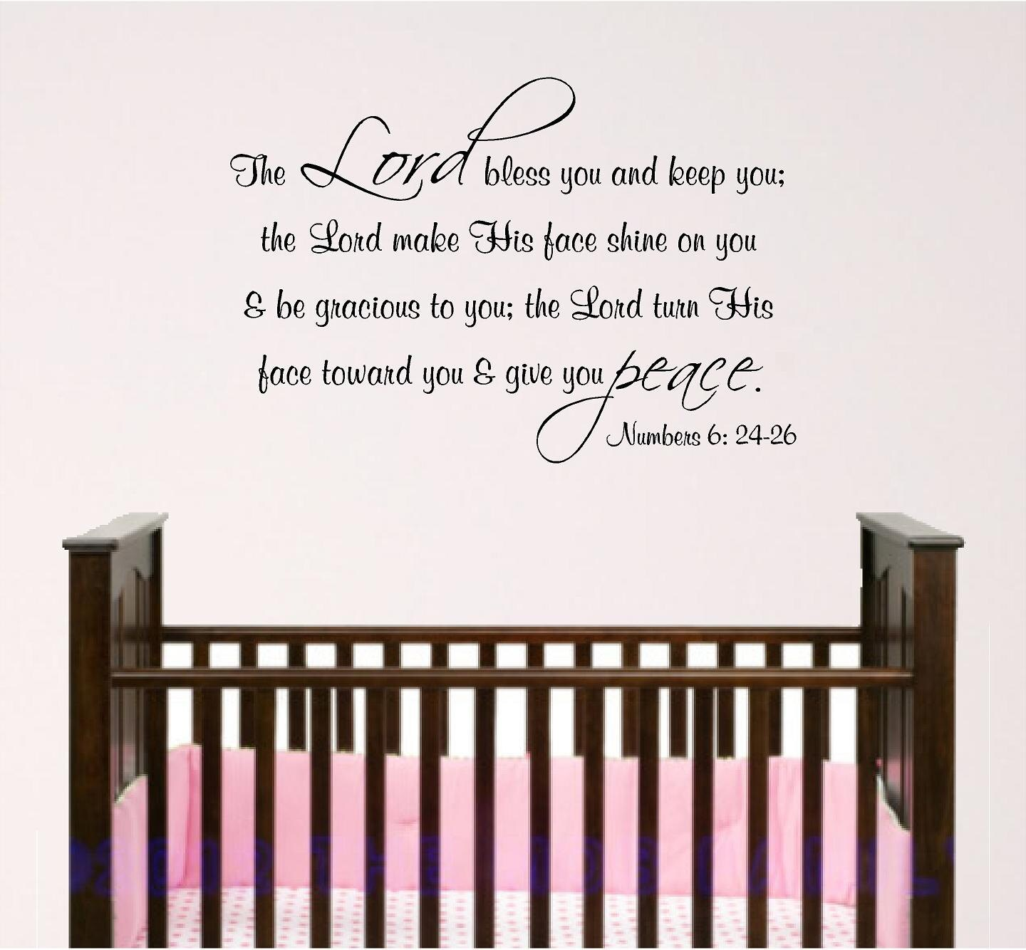 Nursery bible verse wall art lord bless you baby room decal zoom amipublicfo Choice Image
