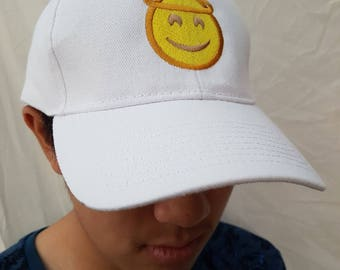Angel emoji embroidered on baseball or trucker cap/ hat. A cute smiling face with halo. A good person/ person who has done a good deed.