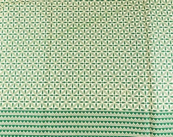 African Fabric Real Wax Green Lines Leaves Patterns rw591615