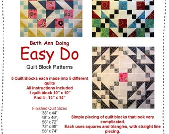Easy Do Quilt Patterns/Instructions for FIVE complete Quilts PDF Download