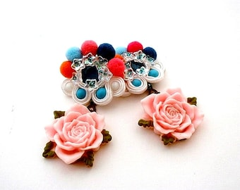 multi colored XXL mismatch earrings , June Birthday gift , bead embroidered soutache statement rose crystals earrings , jewelry gift