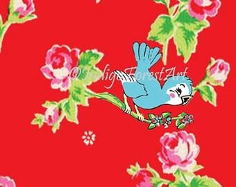 Little Vintage Floral Blue Bird Print