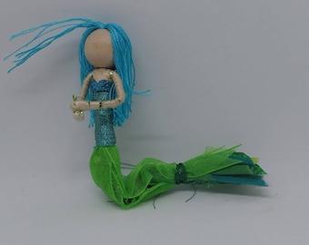 New!  Mermaid Bendy Doll by Tracys Garden Fairies - Blue Hair