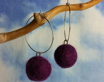 Deep Plum Felted Pom Pom Hoops