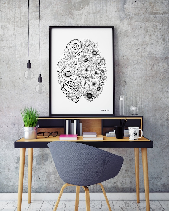 Left Brain Right Brain | Archival print | Wall decor | Ink Illustration | Tattoo art | Black and white | Floral art | Mechanisms poster