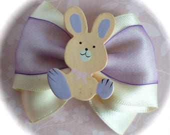 Kids hair clip Bunny purple and cream