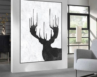 abstract painting on canvas, original deer Painting, black and white handmade Painting, Abstract art, home fine art