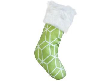 Modern Christmas Stockings - Green & White Graphic Diamond Christmas Stocking