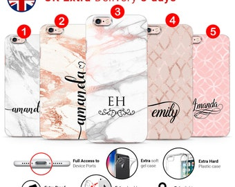 Personalised Natural STONE Marble paper initials Name Custom Phone Case Cover iPhone & Samsung L70