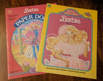 Vintage Paper Dolls • Vintage Barbie Paper Doll Books Precut • 80s 90s Barbie, Golden Paper Dolls