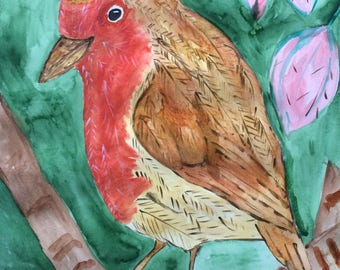Original one off watercolour of Robin in the Tree