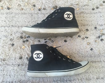 Vintage CHANEL CC Logo Black White High Tops Sneakers Trainers Lace Up Sport Line Shoes US 6.5 - 7