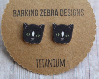 Cat Earrings | Cat Studs | Cat Jewelry | Cat Stud Earrings | Black | Animal Earrings | Titanium Stud Earrings | Hypoallergenic