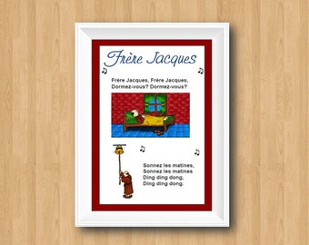 Brother jack French Poster Song Nursery decor / Frère Jacques / Nursery Rhyme / song lyrics Print / Nursery Print / Classroom Decor